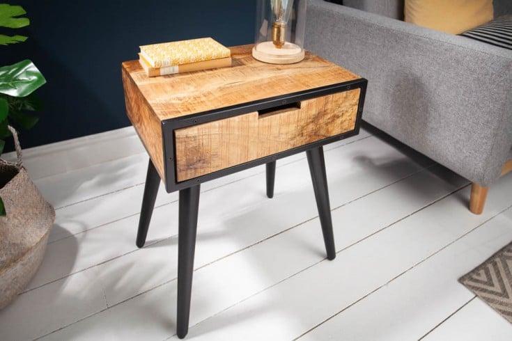 Massiver Beistelltisch INDUSTRIAL 45cm Mangoholz Nachttisch mit schwarzen Beinen