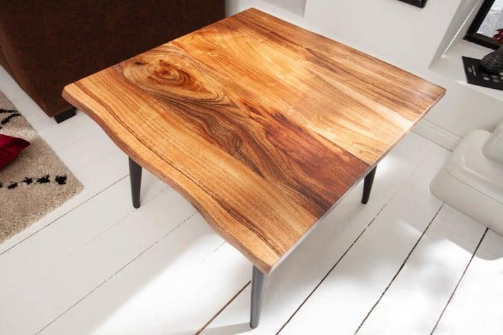 Massiver Beistelltisch ORGANIC LIVING 60cm Akazienholz Couchtisch mit Baumkante