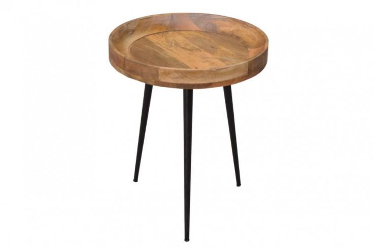 Eleganter Beistelltisch PURE NATURE 45cm Mangoholz mit schwarzen Beinen