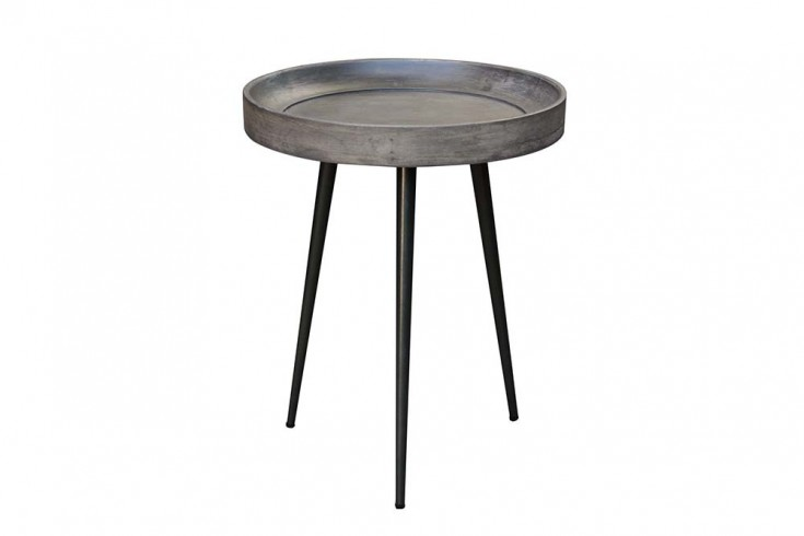 Eleganter Beistelltisch PURE NATURE 45cm Akazie grau mit schwarzen Beinen