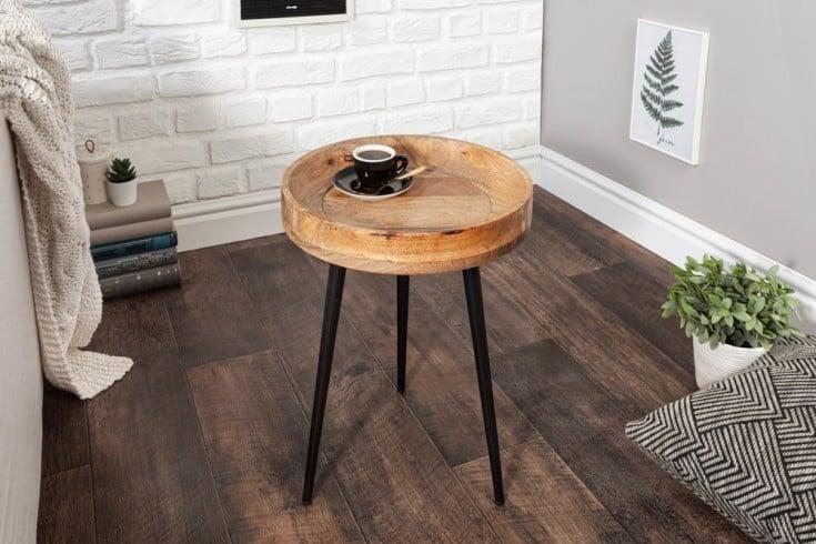 Eleganter Beistelltisch PURE NATURE 35cm Mangoholz mit schwarzen Beinen