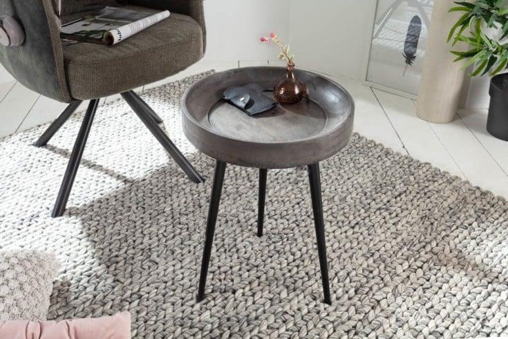 Eleganter Beistelltisch PURE NATURE 35cm Akazie grau mit schwarzen Beinen