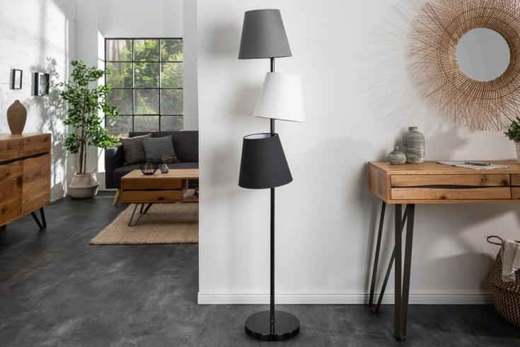 Design Stehlampe LEVELS 163cm schwarz grau mit 3 Leinenschirmen