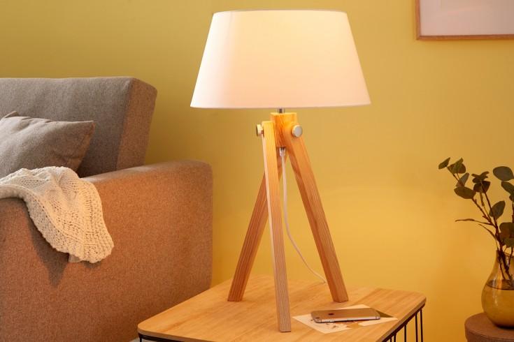 Elegante Tischleuchte TRIPOD 64cm weiß Retro Tischlampe