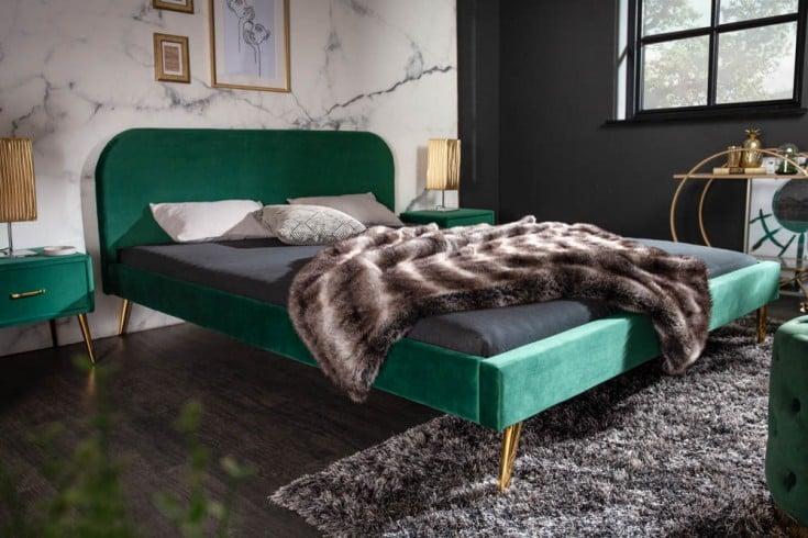 Elegantes Bett FAMOUS 140x200cm smaragdgrün Samt goldene Füße Retro Design