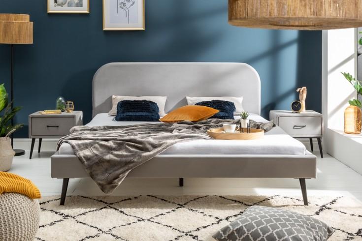 Elegantes Bett FAMOUS 140x200cm silbergrau Samt Retro Design