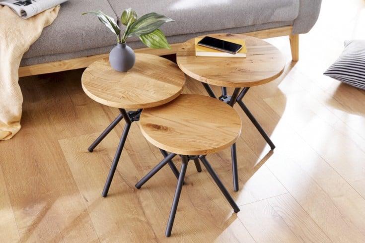 Modernes 3er Set Beistelltische FACTORY 40cm Wildeiche Industrial Design