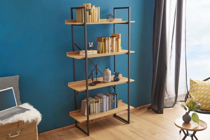 Industrial Bücherregal FACTORY 166cm Eichenoptik mit Metallgestell