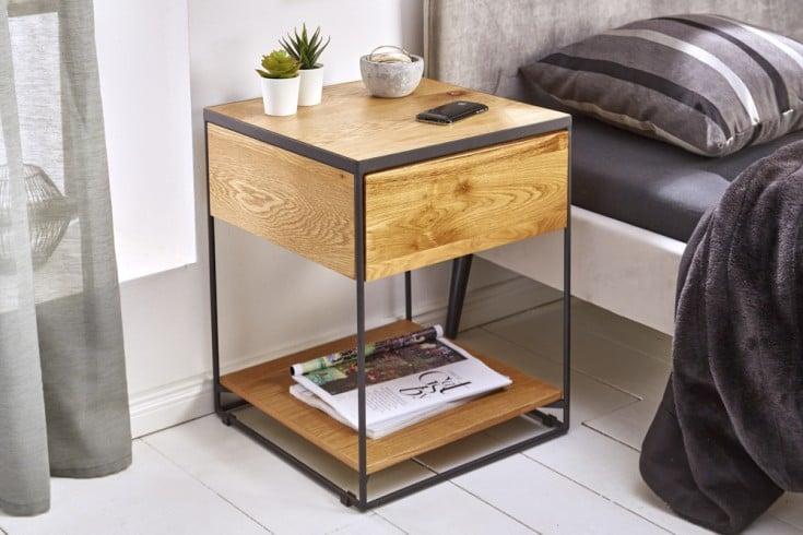Industrial Beistelltisch SCORPION 40cm Wild Eiche Nachttisch mit Schublade