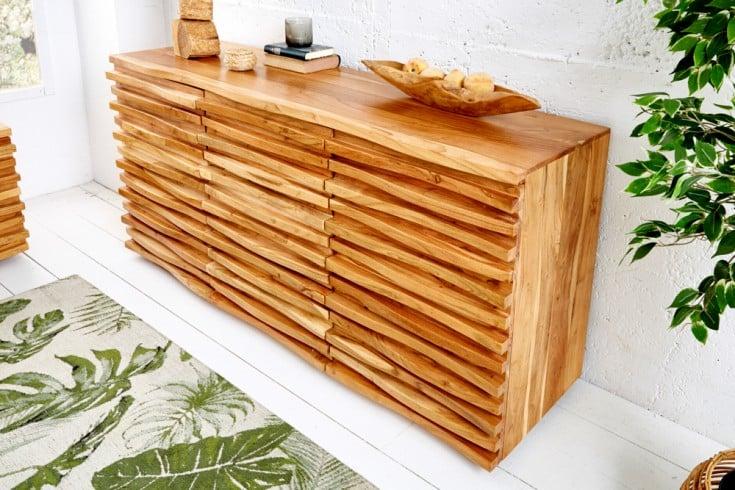 Massives Sideboard RELIEF 160cm Akazien Holz mit aufwändiger Front