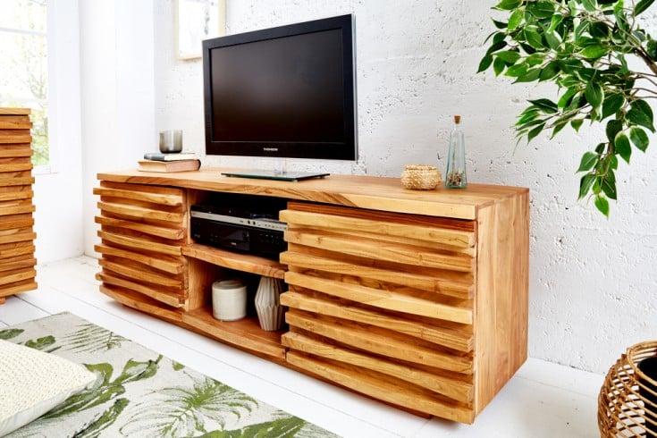 Massives TV-Lowboard RELIEF 150cm Akazien Holz mit aufwändiger Front