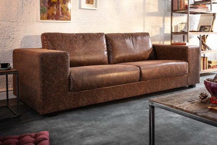 Elegantes 3-Sitzer Sofa MR LOUNGER 220cm vintage braun mit Federkern