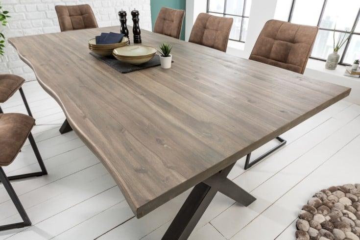 Massiver Baumstamm Tisch GENESIS GREY 160cm Akazie Massivholz Baumkante Esstisch mit X-Gestell Industrial Finish