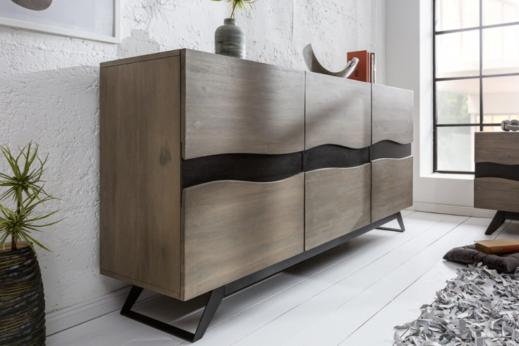Massives Sideboard GENESIS GREY 160cm Akazienholz Industrial Design