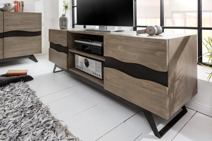 Massives TV-Lowboard GENESIS GREY 160cm Akazienholz Industrial Design