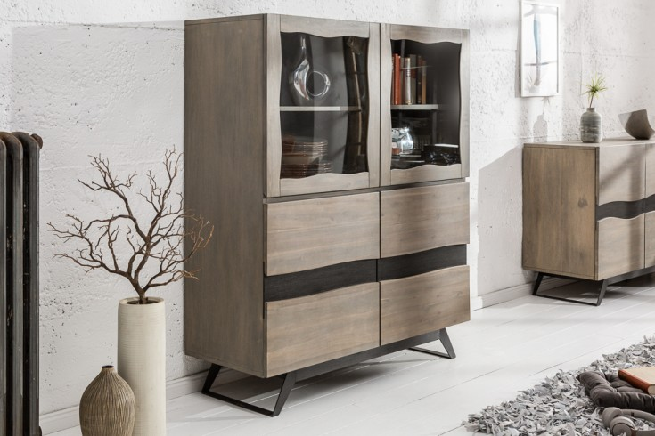 Massives Highboard GENESIS GREY 140cm Akazienholz Industrial Design