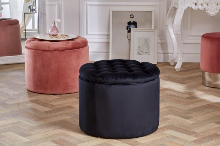 Eleganter Sitzhocker MODERN BAROCK 50cm schwarz Samt Aufbewahrungkorb
