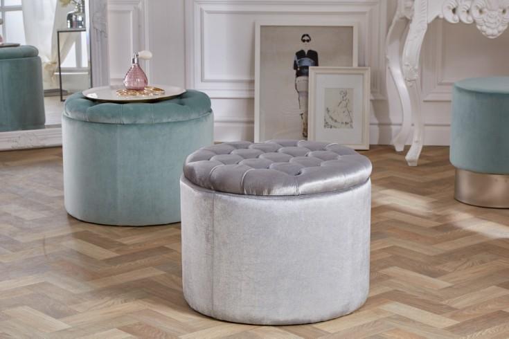 Eleganter Sitzhocker MODERN BAROCK 50cm silber Samt Aufbewahrungkorb