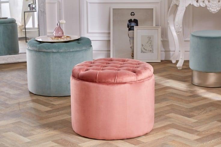 Eleganter Sitzhocker MODERN BAROCK 50cm altrosa Samt Aufbewahrungkorb