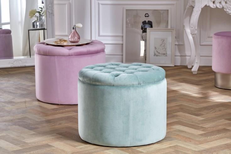 Eleganter Sitzhocker MODERN BAROCK 50cm mint Samt Aufbewahrungkorb