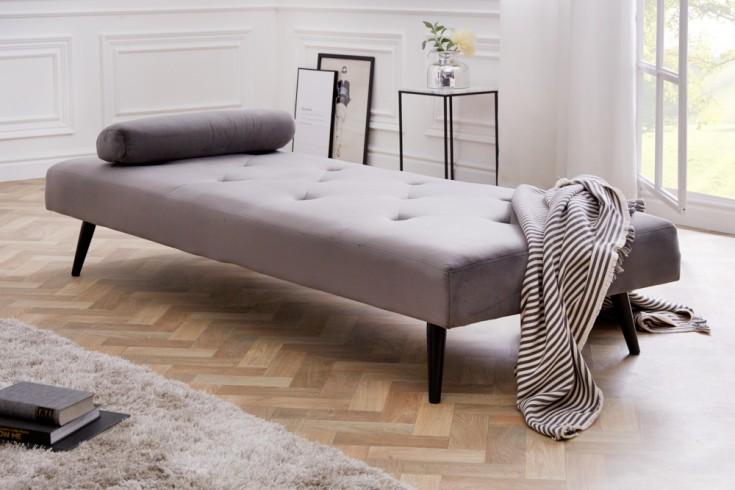 Elegantes Tagesbett DAYDREAM 197cm silbergrau Samt Sofabett inkl. Kissen