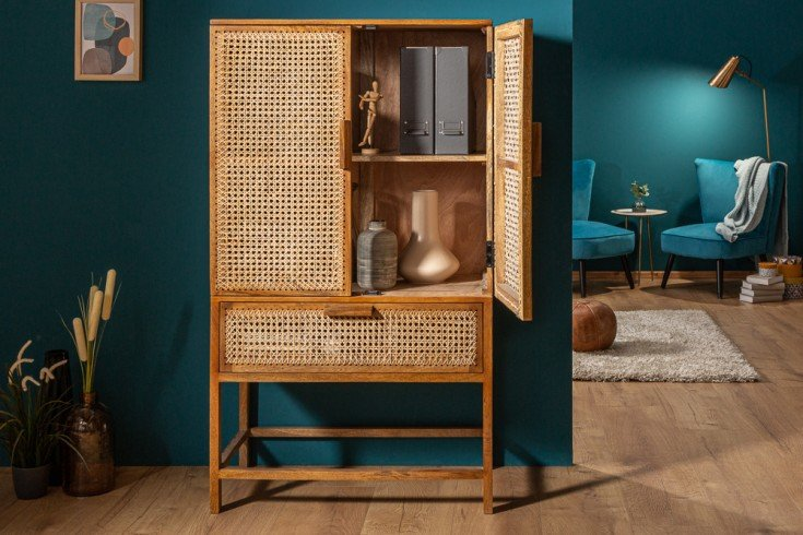 Massives Highboard BAMBOO LOUNGE 140cm Mangoholz Bambus mit Wiener Geflecht