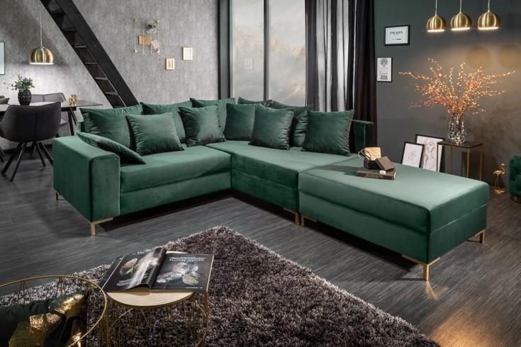 Modernes Ecksofa LOFT 220cm smaragdgrün Samt inkl. Hocker & Kissen beidseitig aufbaubar