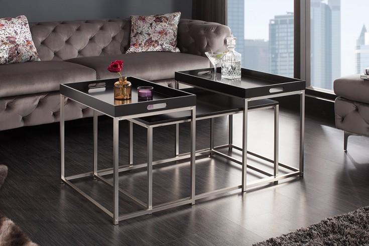 Modernes Design Couchtisch 3er Set ELEMENTS 75cm schwarz Stahl Tablett Tisch