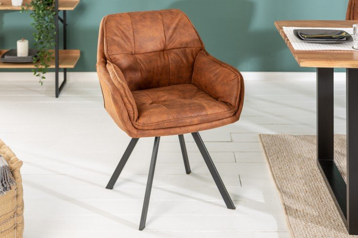 Drehbarer Design Stuhl MR. LOUNGER hellbraun mit Armlehne