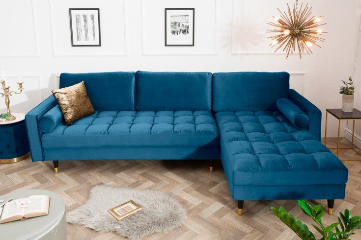 Elegantes Ecksofa COZY VELVET 260cm dunkelblau Samt Federkern 3er-Sofa