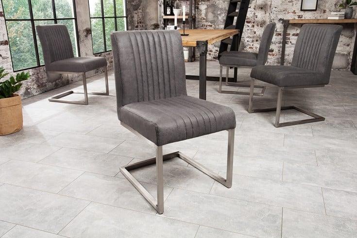 Moderner Freischwinger Stuhl BIG ASTON vintage grau Edelstahl gebürstet
