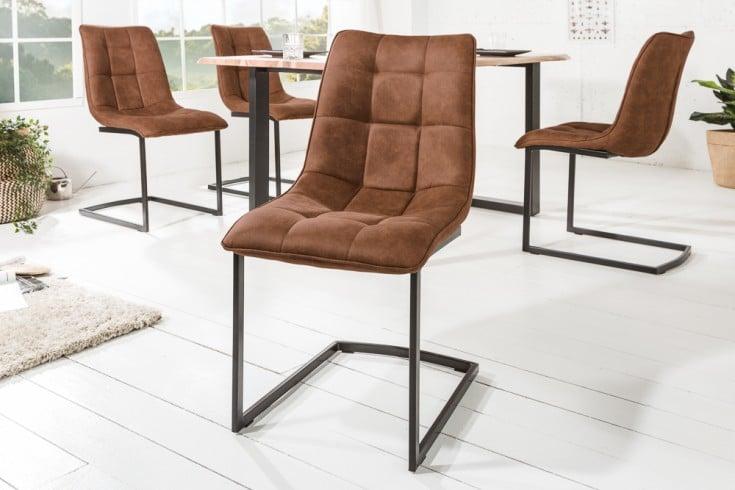 Design Freischwinger Stuhl MIAMI hellbraun Metallgestell matt schwarz