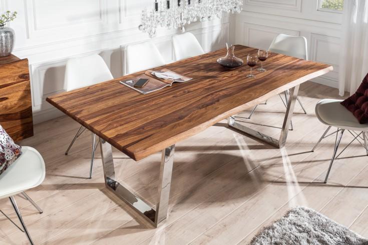 Massiver Baumstamm Esstisch MAMMUT 200cm Sheesham 3,5cm Tischplatte
