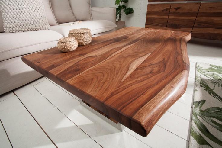 Massiver Baumstamm Couchtisch MAMMUT 110cm Sheesham 3,5cm Tischplatte