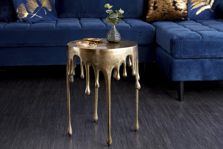 Extravaganter Beistelltisch LIQUID LINE 51cm gold Tropfen-Design