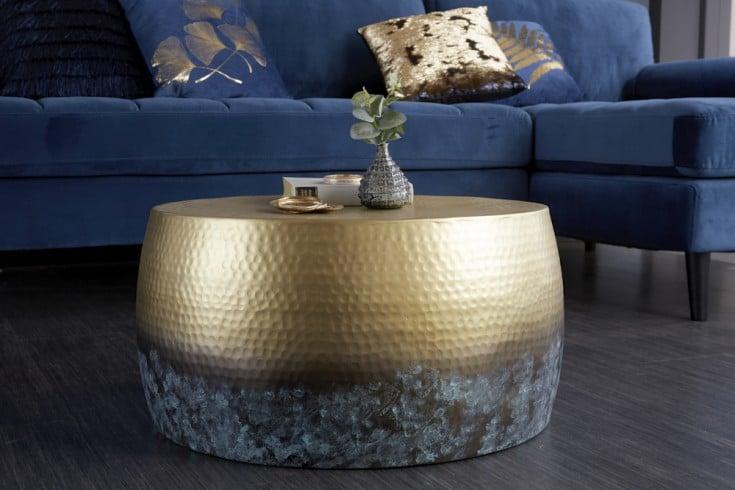 Handgearbeiteter Couchtisch ORIENT III 60cm gold mit Patina Hammerschlag Design