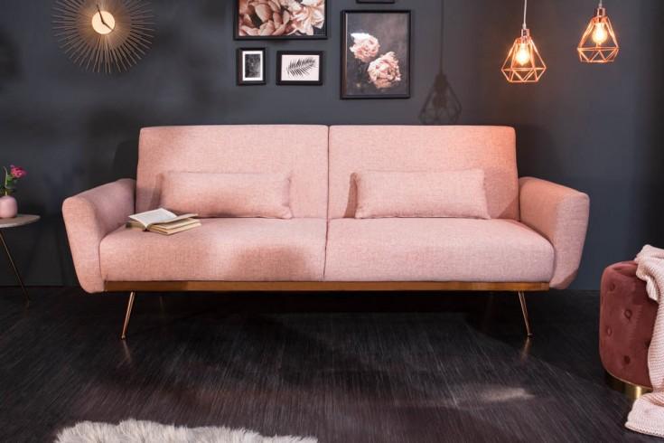 Retro Schlafsofa BELLEZZA 208cm altrosa 3-Sitzer Couch inkl. Kissen