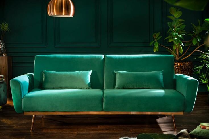 Retro Schlafsofa BELLEZZA 208cm smaragdgrün Samt 3-Sitzer Couch inkl. Kissen