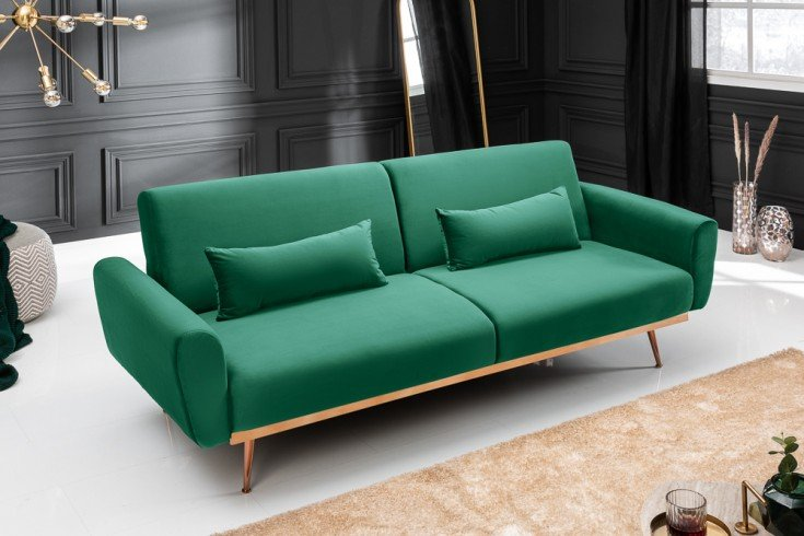 Retro Schlafsofa BELLEZZA 210cm smaragdgrün Samt 3-Sitzer Couch inkl. Kissen