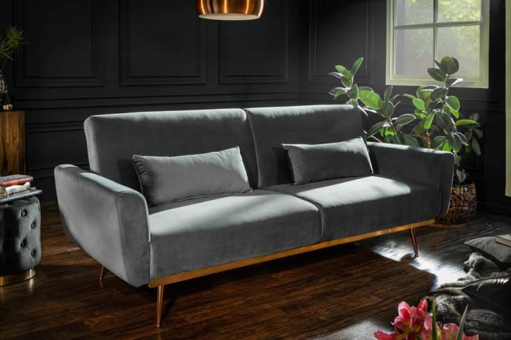 Retro Schlafsofa BELLEZZA 208cm grau Samt 3-Sitzer Couch inkl. Kissen