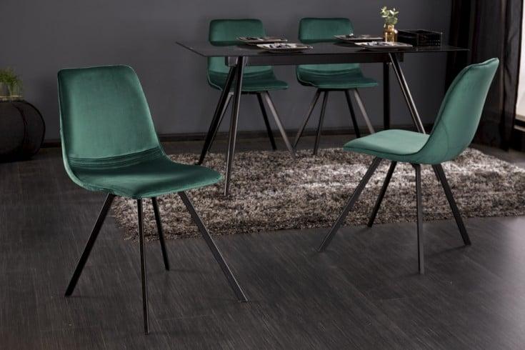 Retro Stuhl AMSTERDAM CHAIR smaragdgrün Samt Designklassiker