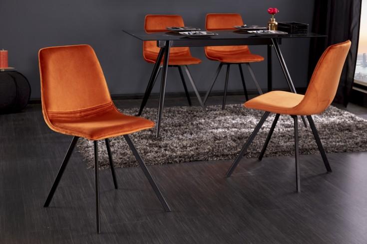 Retro Stuhl AMSTERDAM CHAIR orange Samt Designklassiker