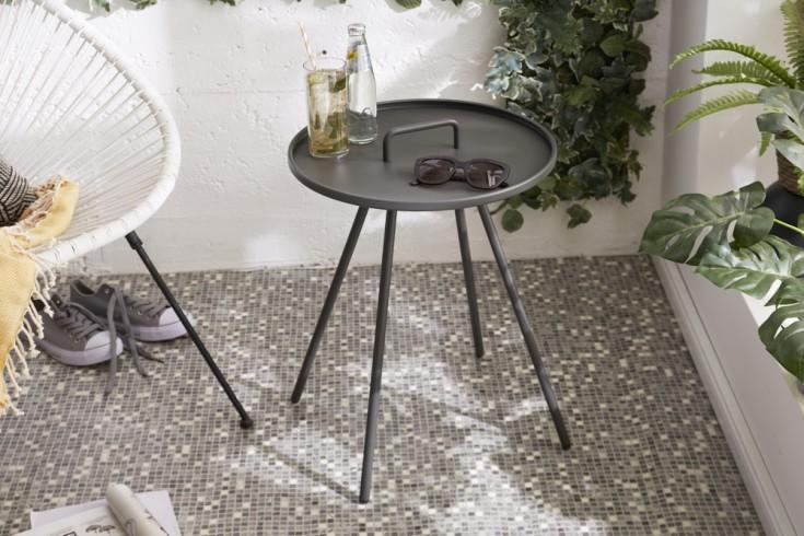 Moderner Gartentisch FUNCTION 49cm grau mit Griff Beistelltisch wetterfest