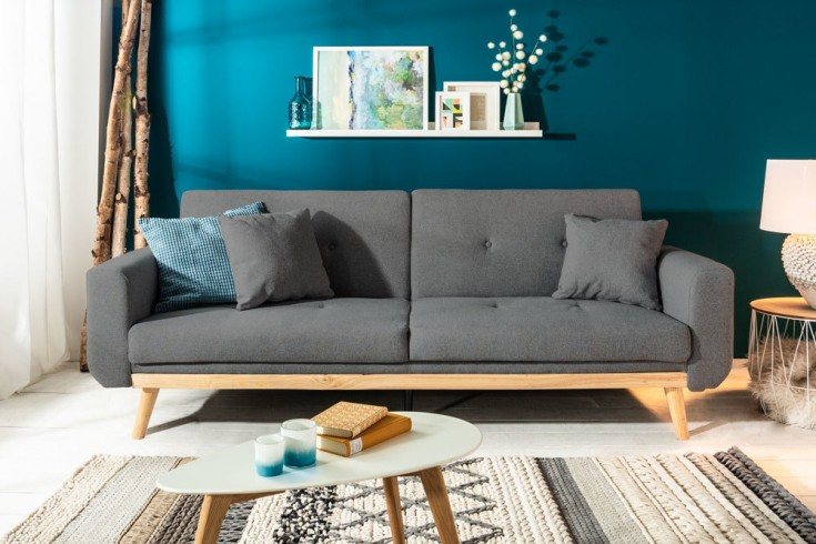Design 3-Sitzer Schlafsofa SKAGEN 215cm anthrazit Scandinavian Design Bettfunktion