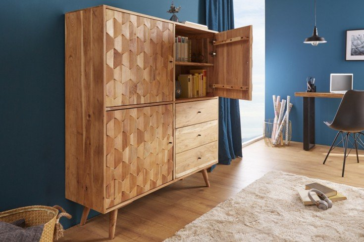 Massives Highboard MYSTIC LIVING 118cm Akazie natur 3D Oberfläche