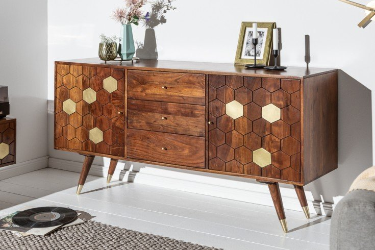 Massives Sideboard MYSTIC LIVING 145cm Akazie braun gold Retro Design