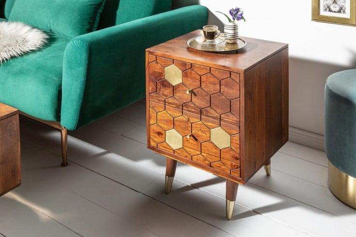 Massiver Nachttisch MYSTIC LIVING 40cm braun gold Akazie Beistelltisch Retro Design