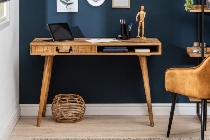 Massiver Schreibtisch RETRO 120cm Mangoholz Bürotisch mit Schublade