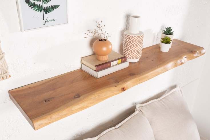 Massives Wandregal MAMMUT 80cm Akazienholz Regalbrett mit Baumkante