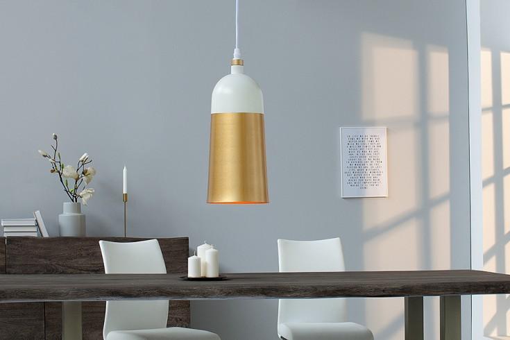 Elegante Hängeleuchte MODERN CHIC I 31cm weiß gold Pendellampe
